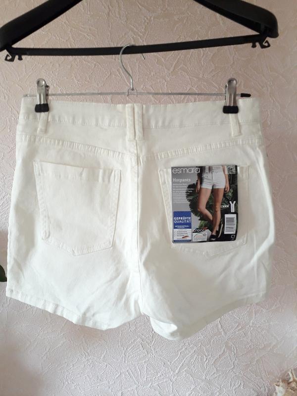 Женские летние котоновые белые шорты высокая посадка esmara - Фото 5