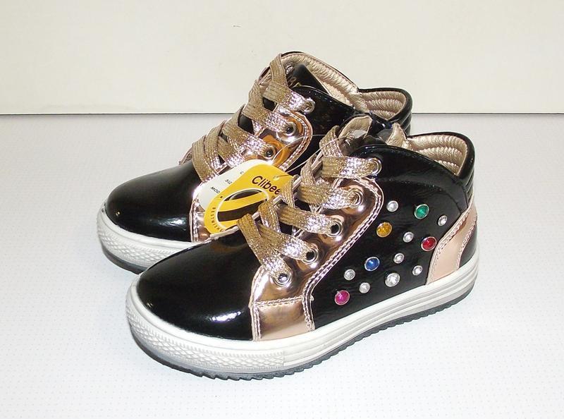 Ботинки для девочек черные c камнями clibee