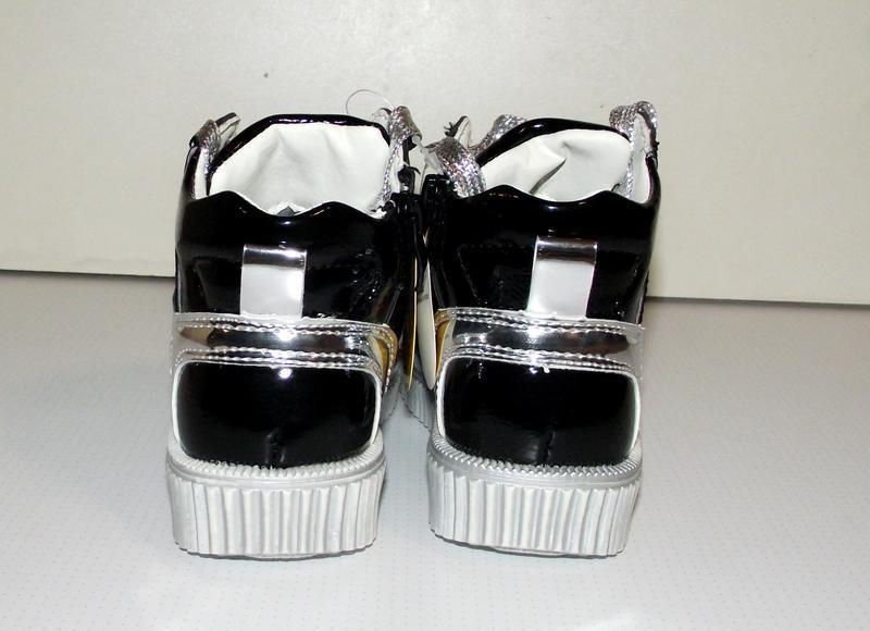 Ботинки для девочек черные c серебром clibee румыния - Фото 3