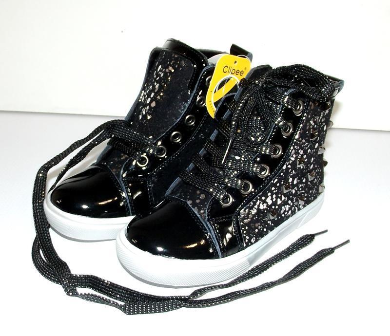 Ботинки для девочек черные c серебром хайтопы clibee
