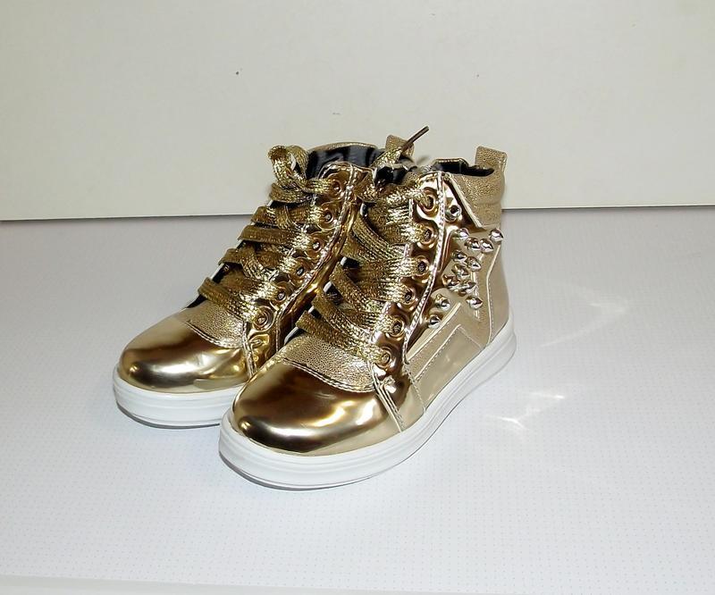 Ботинки демисезонные для девочек золото хайтопы