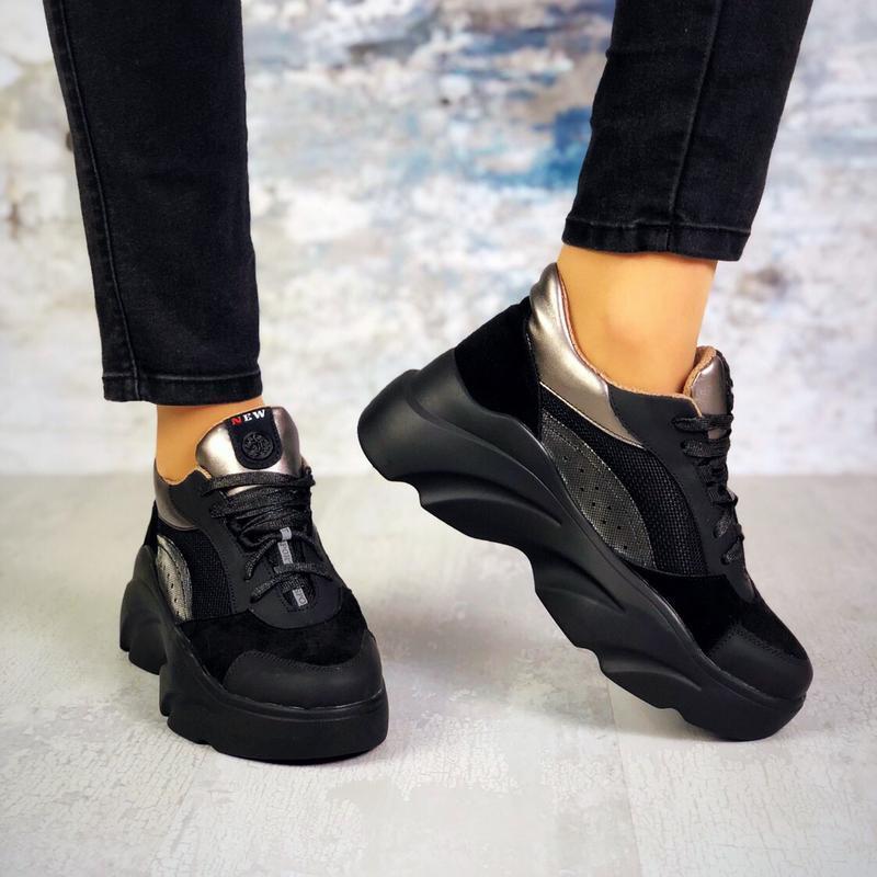 Натуральная замша замшевые кожаные кроссовки на массивной подошве