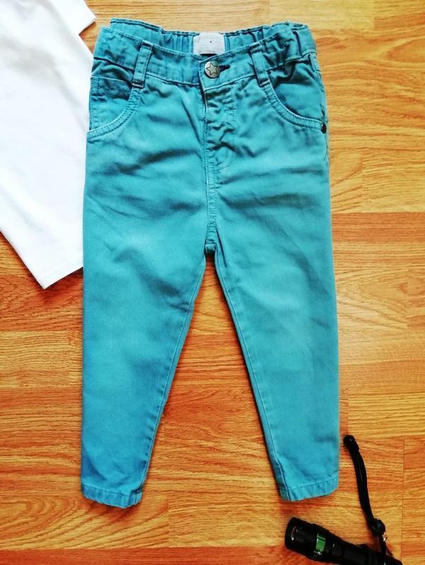 Детские зауженные актуальные коттоновые брюки - джинсы для мал...