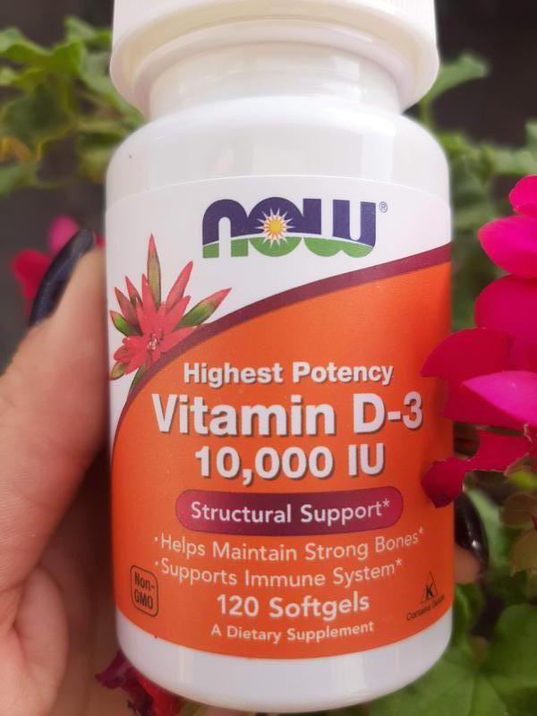 Витамин D3, 10000 МЕ, 120 шт, Now Foods, вітамін Д 3, США, iherb