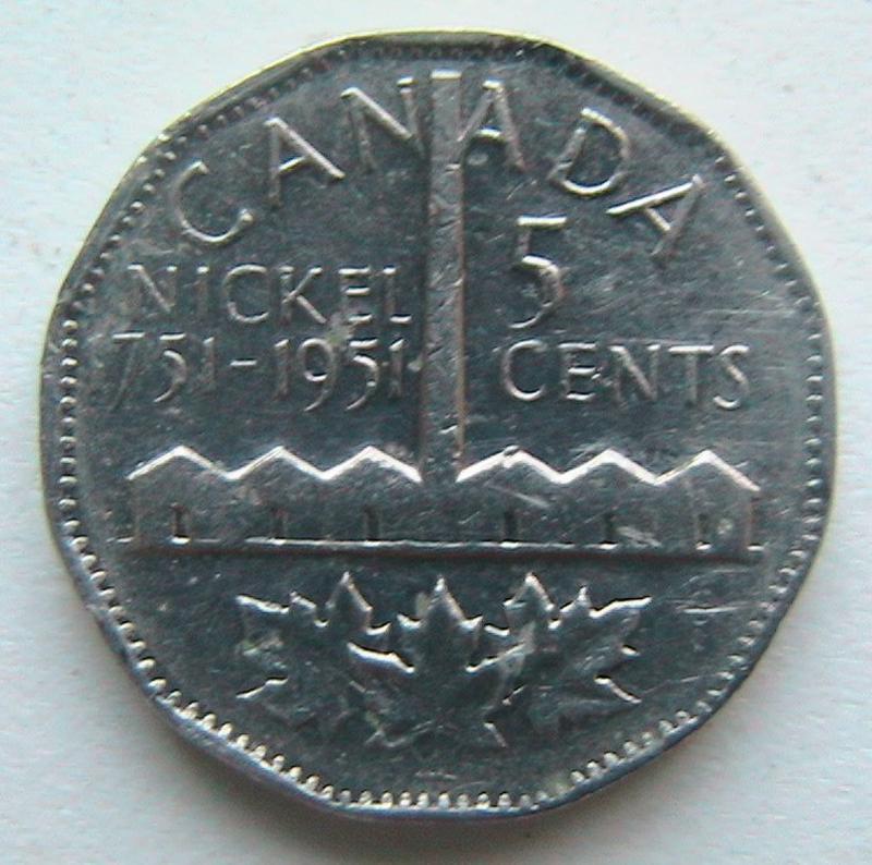 Канада 5 центов 1951 Открытие никеля