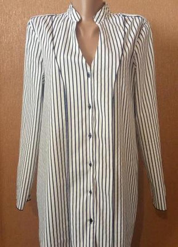 Блузка рубашка в полоску размер 12 zara