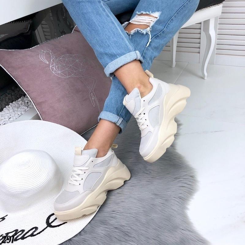 Бежевые кроссовки на платформе, кроссовки волна rafaello 37,40р - Фото 2