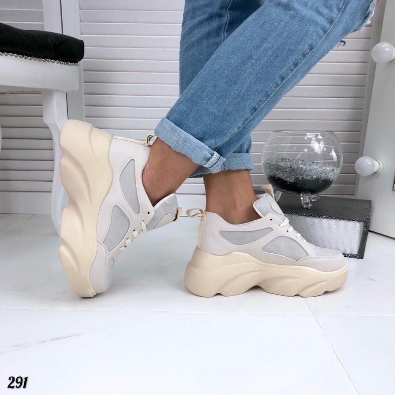 Бежевые кроссовки на платформе, кроссовки волна rafaello 37,40р - Фото 3