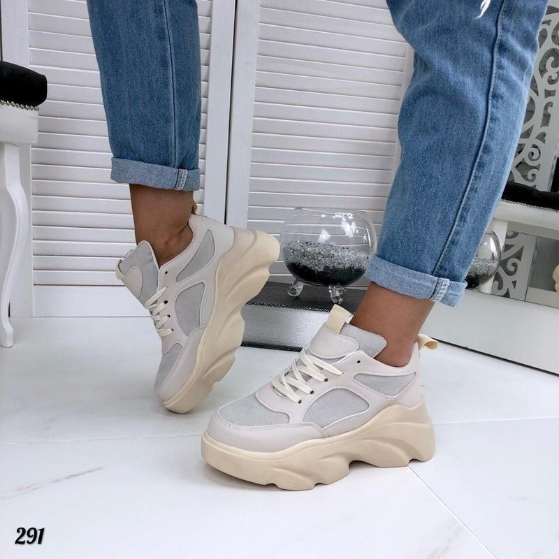 Бежевые кроссовки на платформе, кроссовки волна rafaello 37,40р - Фото 4