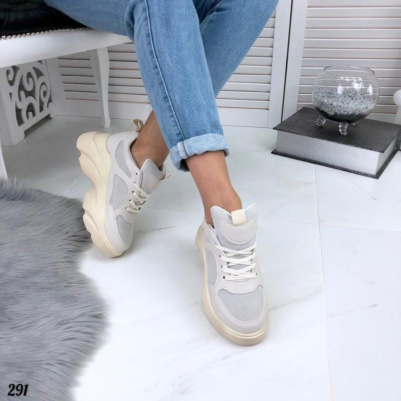 Бежевые кроссовки на платформе, кроссовки волна rafaello 37,40р - Фото 5