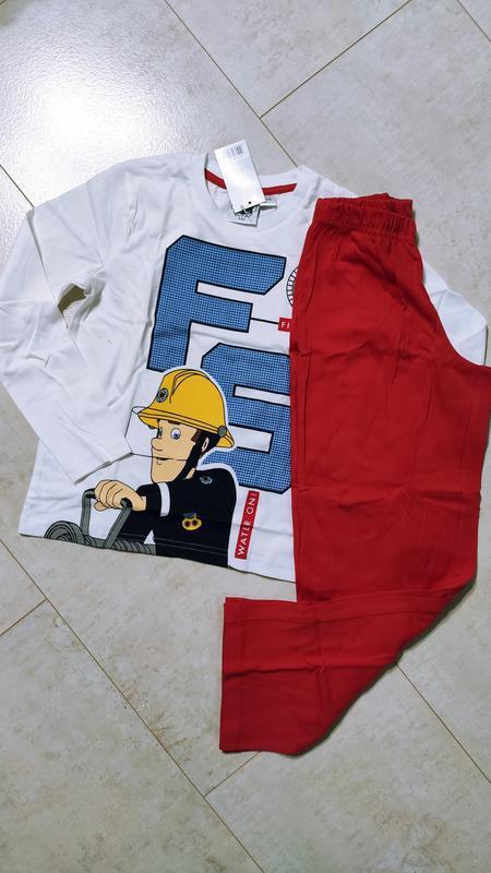 Хлопковая пижама на мальчика пожарник сэм, кофта и штаны