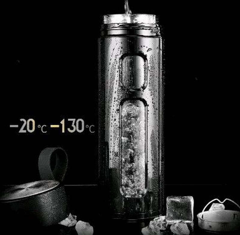 Стеклянный термос с чехлом с заварочным блоком 600 мл - Фото 3