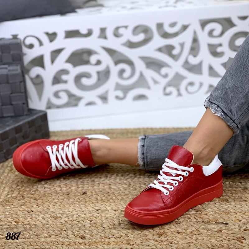 Натуральная кожа люксовые базовые красные кожаные кроссовки кеды