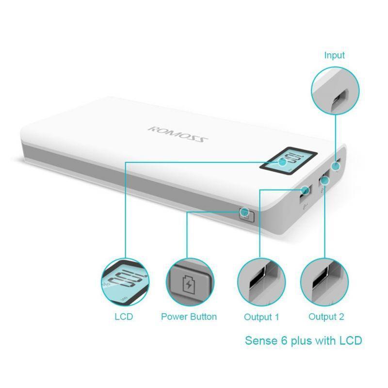 Power Bank Romoss LCD 50000mAh Sense 6 PLUS 2USB,