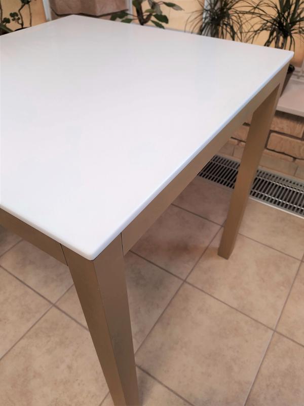 Стол кухонный, обеденный 70*70 из искусственного камня и мат. алю - Фото 3