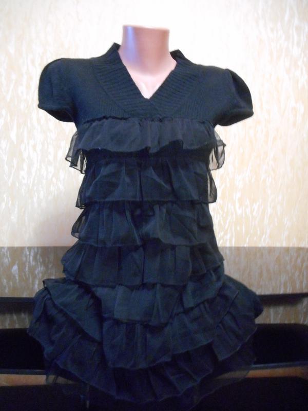Суперовая туника-платье черная с рюшиками и теплой основой
