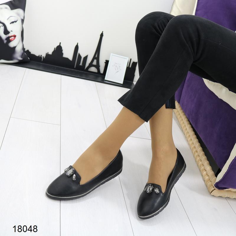 Чёрные балетки, чёрные туфли на низком ходу. - Фото 2