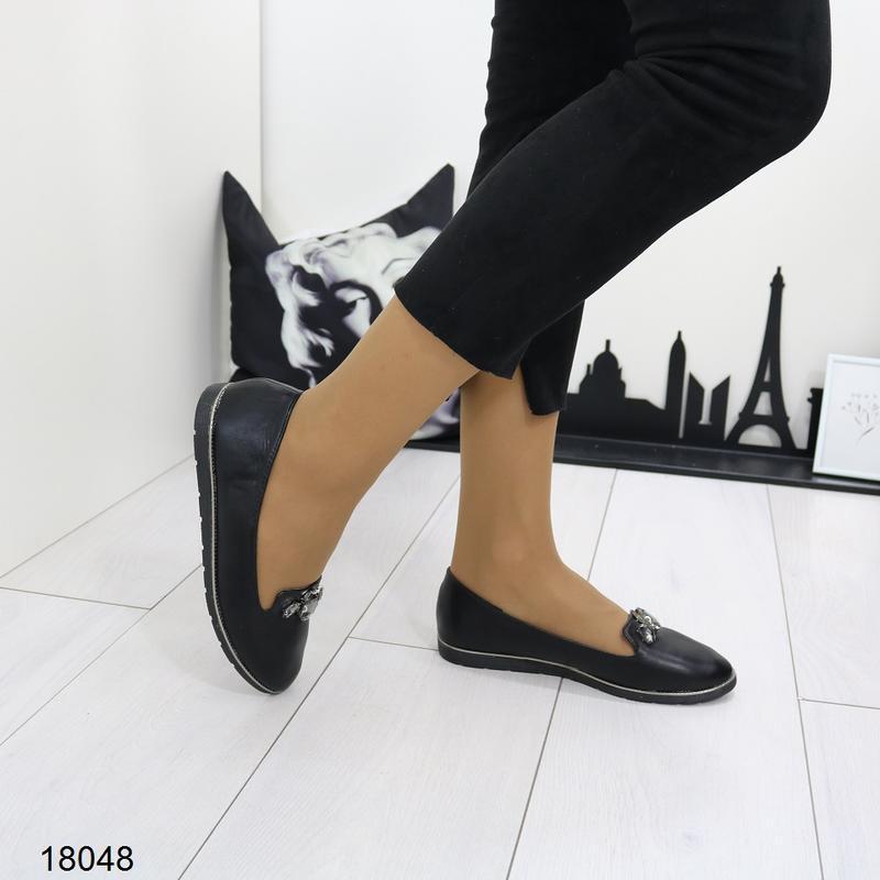 Чёрные балетки, чёрные туфли на низком ходу. - Фото 3
