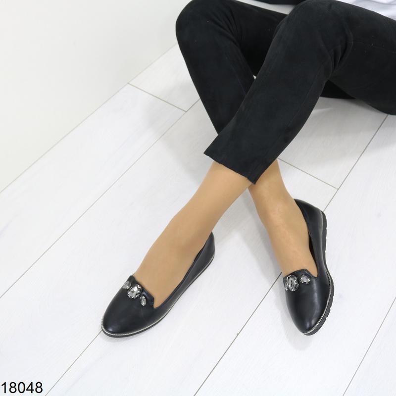 Чёрные балетки, чёрные туфли на низком ходу. - Фото 4