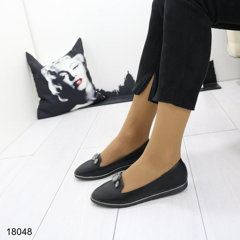Чёрные балетки, чёрные туфли на низком ходу. - Фото 5