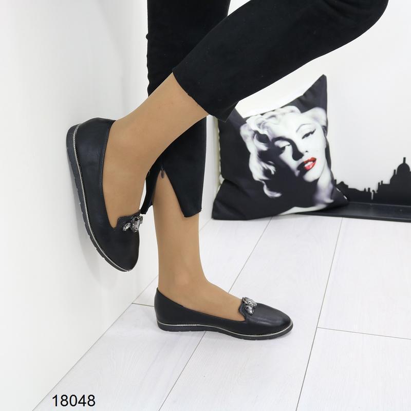 Чёрные балетки, чёрные туфли на низком ходу. - Фото 6