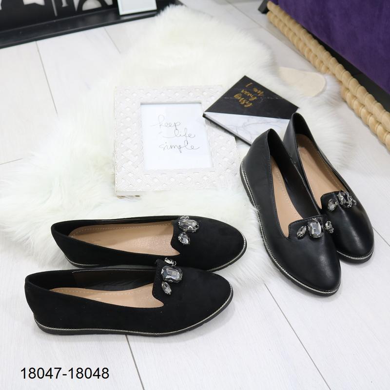 Чёрные балетки, чёрные туфли на низком ходу. - Фото 7