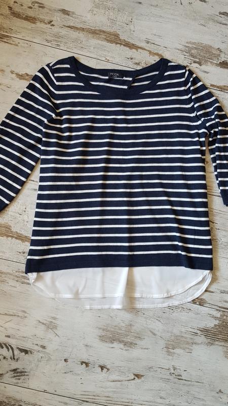 Красивый свитер блузка асиметричный рукав 3/4 - Фото 2