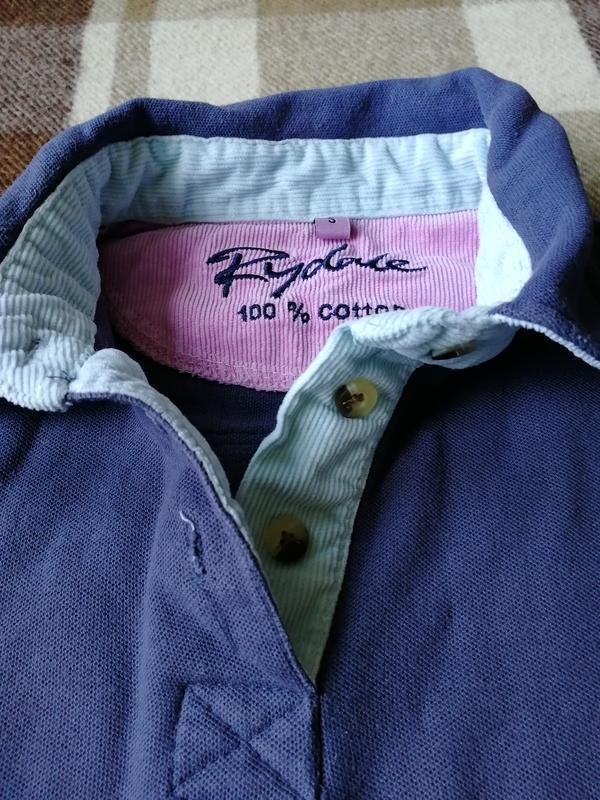 Жёсткая структурная футболка поло с вельветовый отделкой rydale - Фото 5