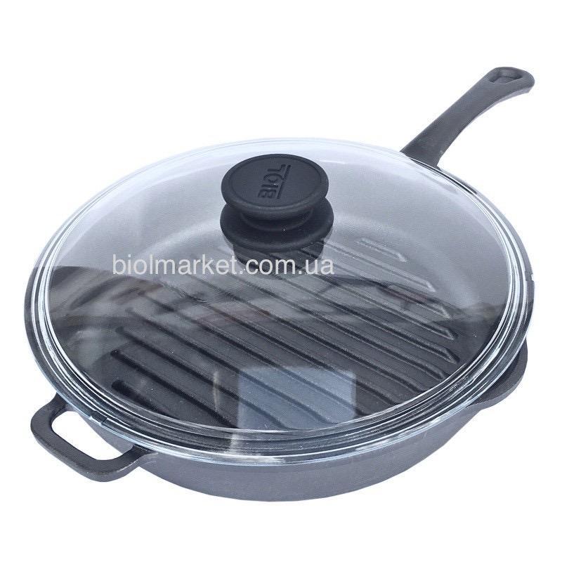 Сковорода-гриль чугунная (280 мм) со стеклянной крышкой 1128С