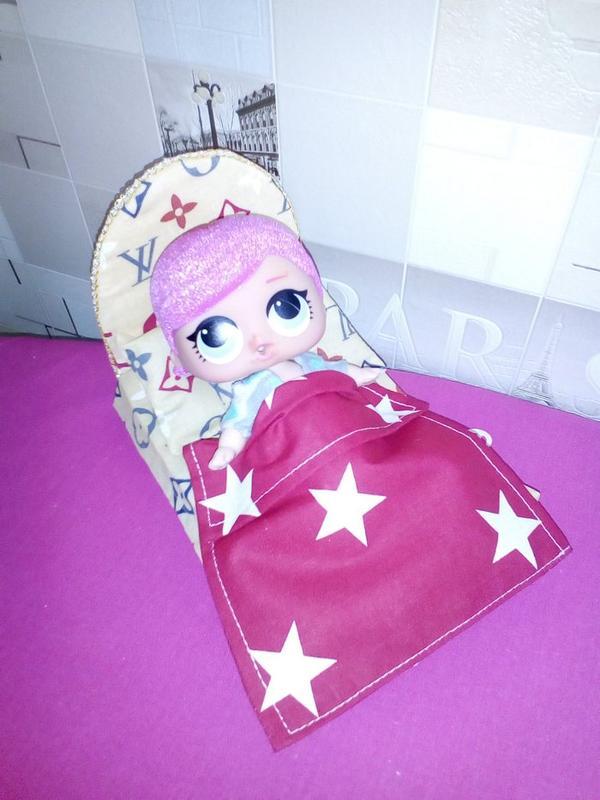 Кровать и постель для кукол Лол. Мебель для кукольного домика. - Фото 2