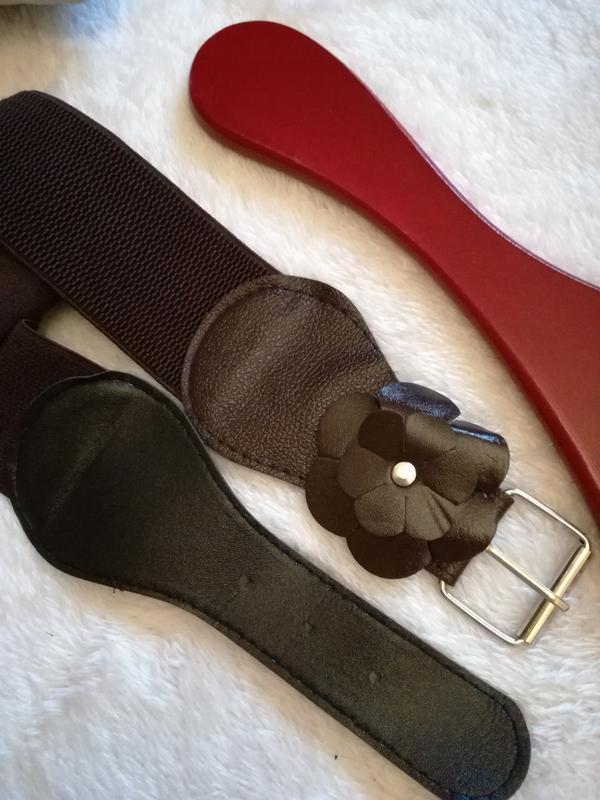Пояс корсет коричневый экокожа + текстиль