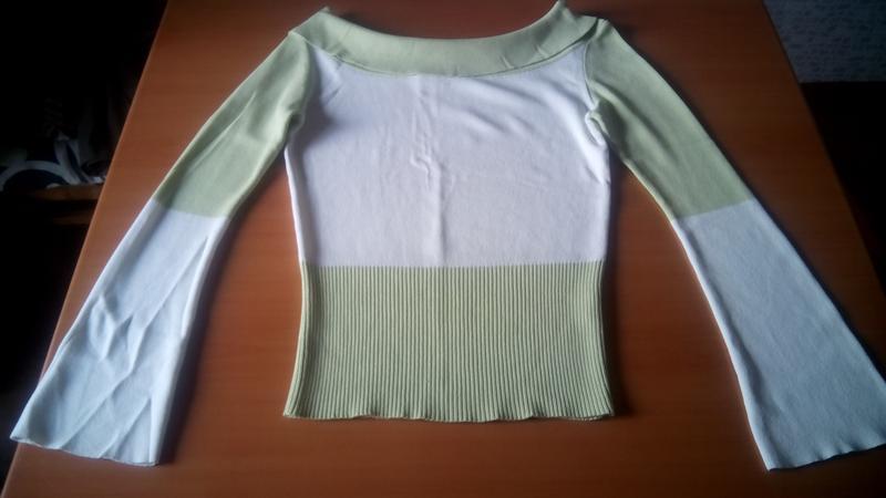 Тонкий свитерок пастельных оттенков зеленоватый с белым - Фото 2