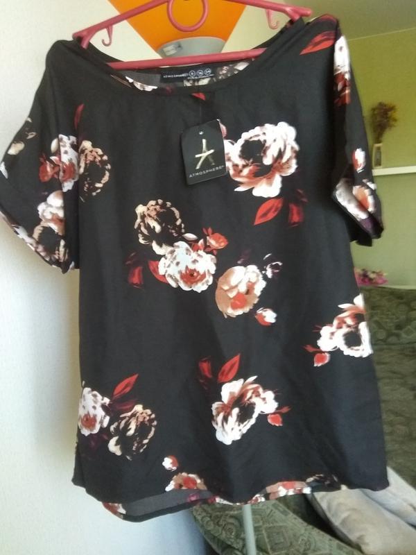 Блуза черная цветы летняя
