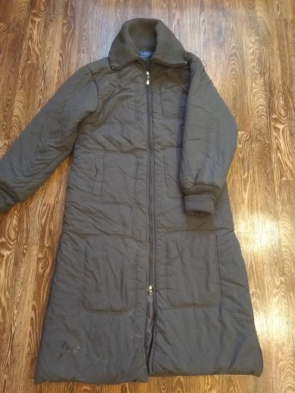 Теплый зимний пуховик пальто на синтепоне с флисом