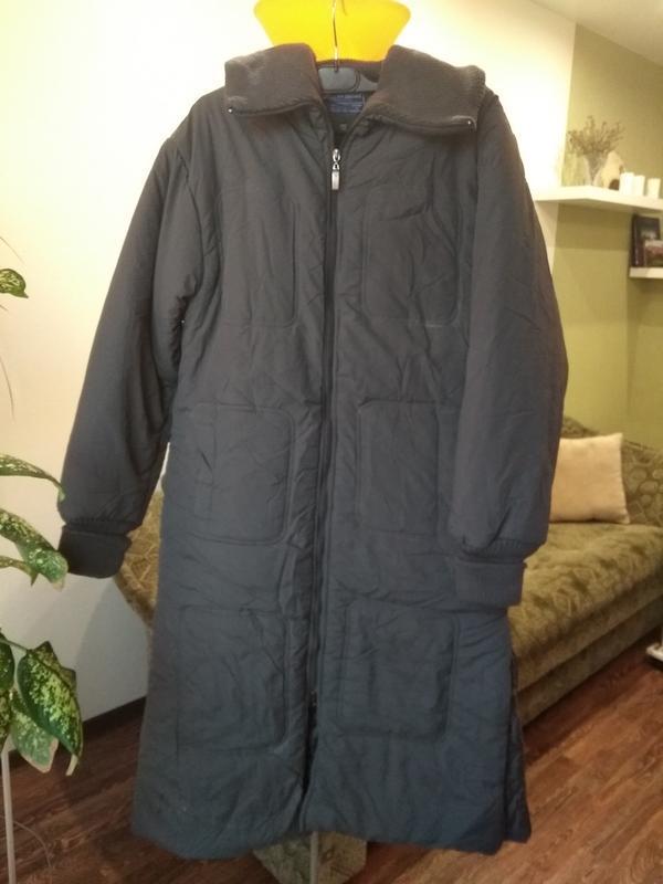Теплый зимний пуховик пальто на синтепоне с флисом - Фото 2