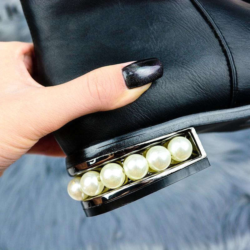 🔷 код : 1265 демисезонные ботиночки с необычным каблучком очен... - Фото 4