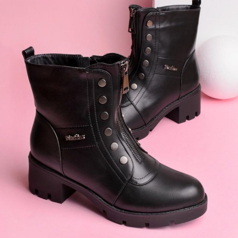 30963 ботинки на широком каблуке
