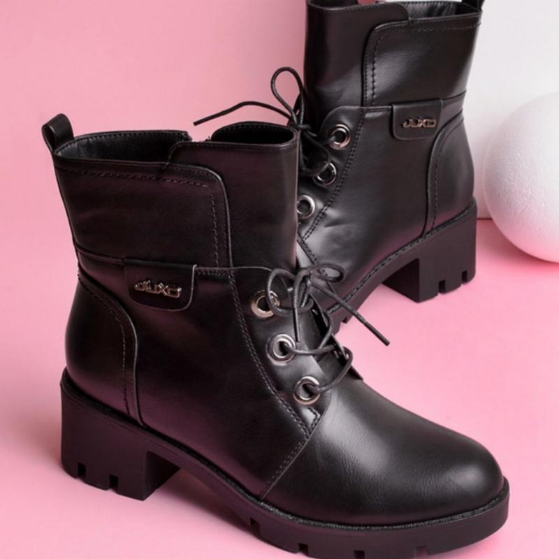 30962 ботинки на широком каблуке