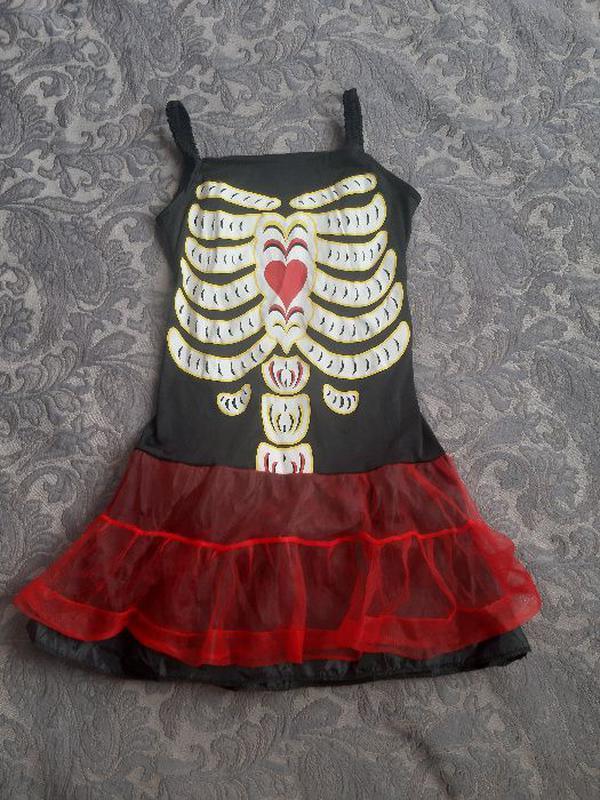 Платье скелет хэлоуин утренник ведьмы 10-11-12 лет 134-140-146