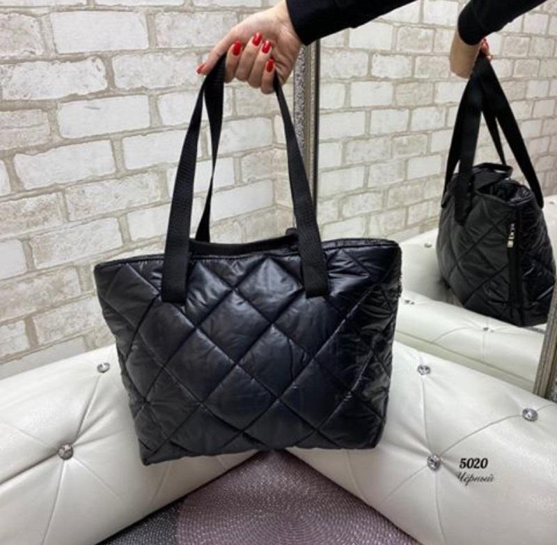 Стёганая женская сумка стильная . черный