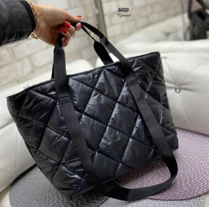 Стёганая женская сумка стильная . черный - Фото 2