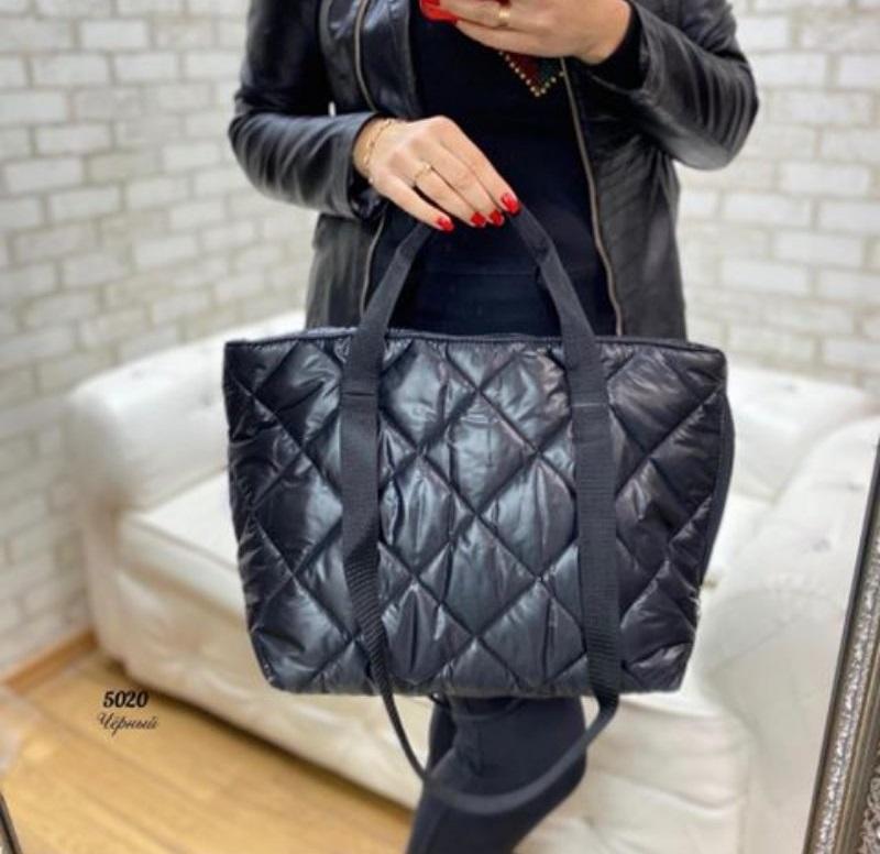Стёганая женская сумка стильная . черный - Фото 3