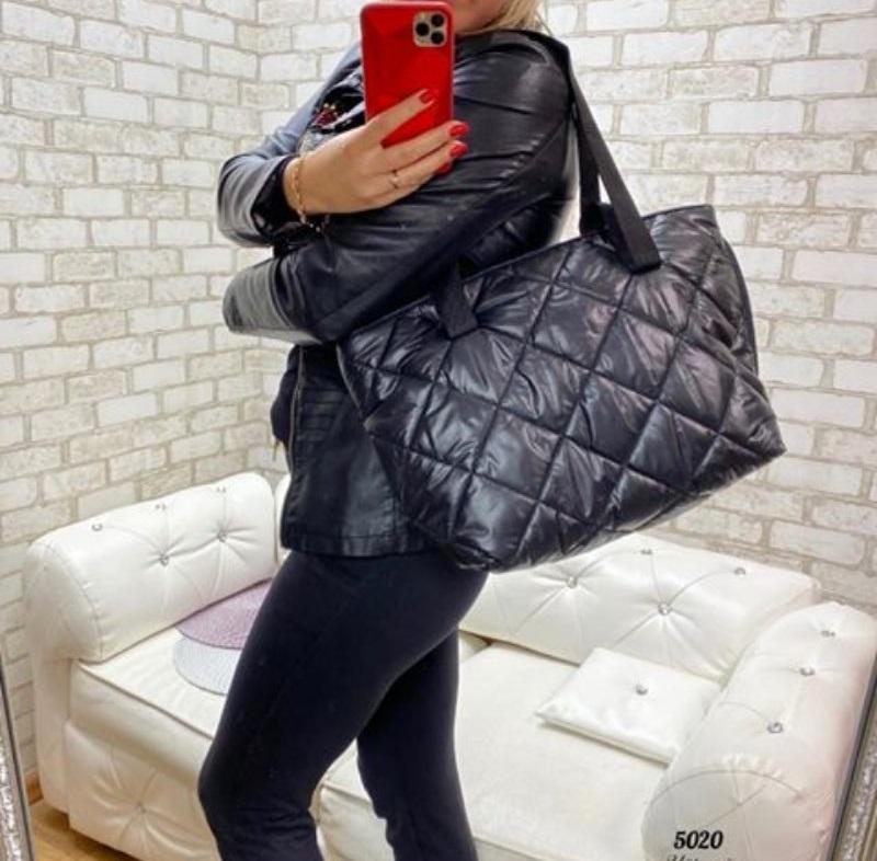 Стёганая женская сумка стильная . черный - Фото 4