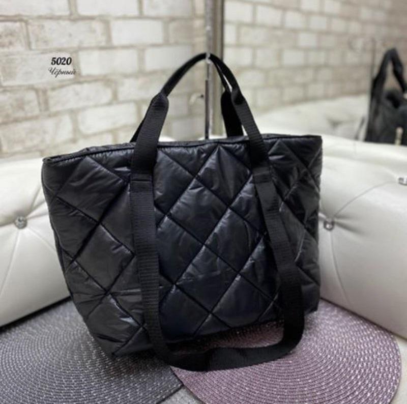 Стёганая женская сумка стильная . черный - Фото 5
