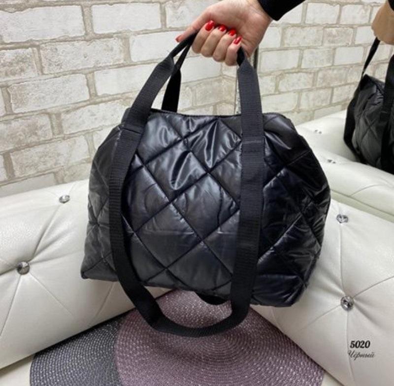Стёганая женская сумка стильная . черный - Фото 6
