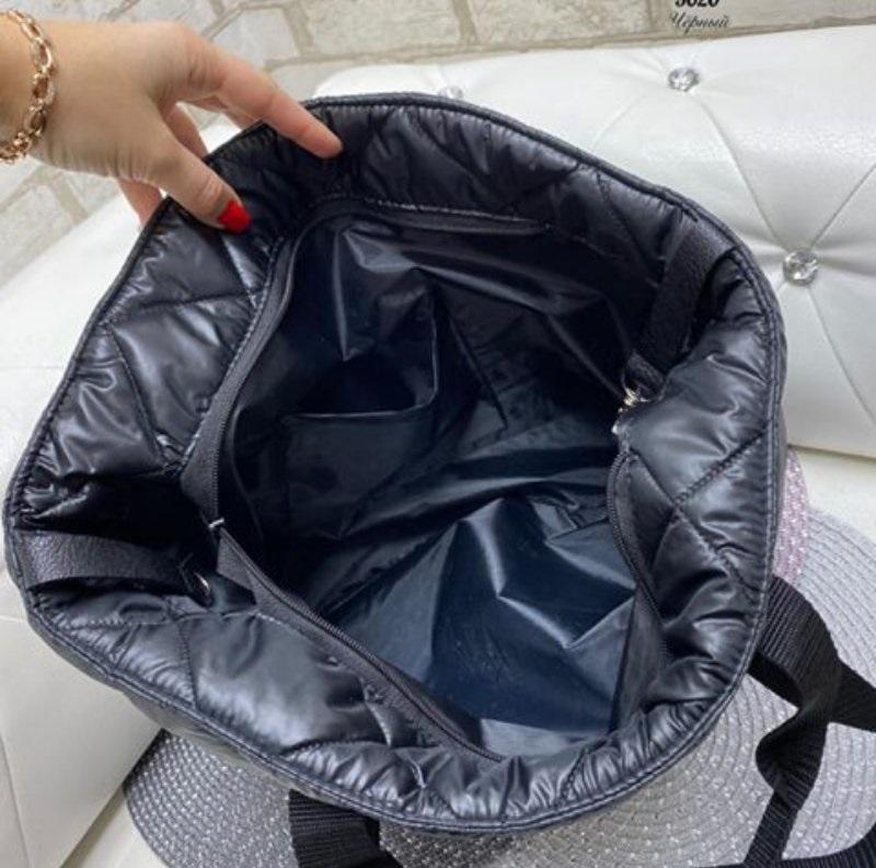 Стёганая женская сумка стильная . черный - Фото 8