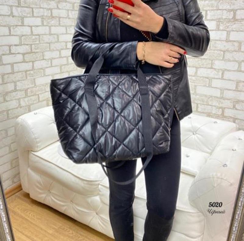 Стёганая женская сумка стильная . черный - Фото 9