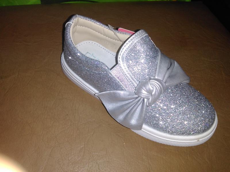 Блестящие туфли 25-29 р. tom.m на девочку, слипоны, бант, сере...