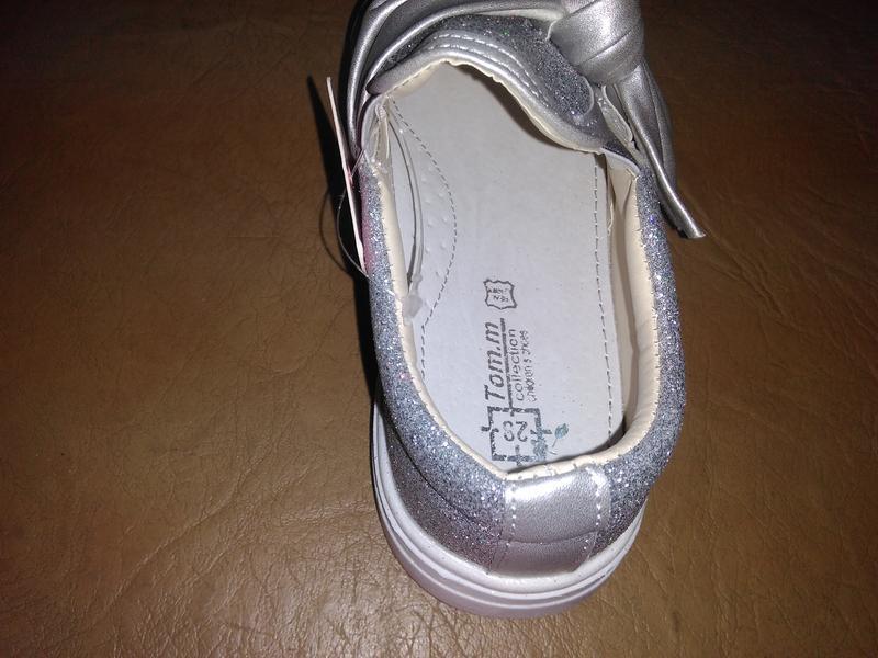 Блестящие туфли 25-29 р. tom.m на девочку, слипоны, бант, сере... - Фото 2