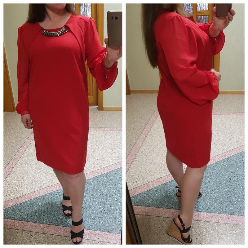 Красное платье с шифоновыми рукавами большого размера next - Фото 2
